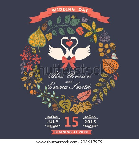 Retro wedding invitation with autumn leaves wreath. Cute cartoon couple  white swans with vignettes,ribbons.Vector design template - stock vector