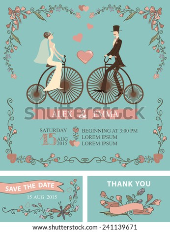 Retro wedding invitation with floral doodle decor,wreath , border. Cute cartoon couple groom and bride on retro bicycle.Vintage Vector design template set.Save date,thank you card