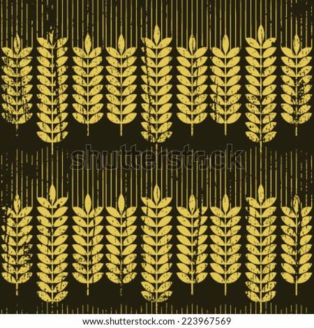 retro wheat row seamless pattern - stock vector