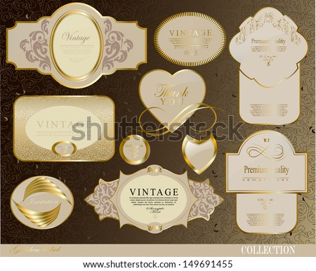 Retro white gold label/can be used for invitation, congratulation or website layout vector/ vector collection - stock vector