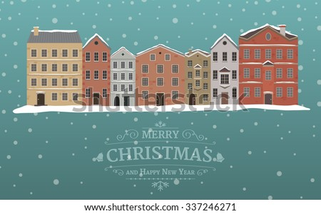 Retro winter banner with a Christmas sign in front of a city on a snowing background. Template for Christmas card in flat design in vector - stock vector