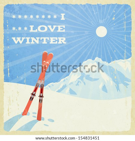 Retro winter landscape with skies, vector illustration, eps10. - stock vector