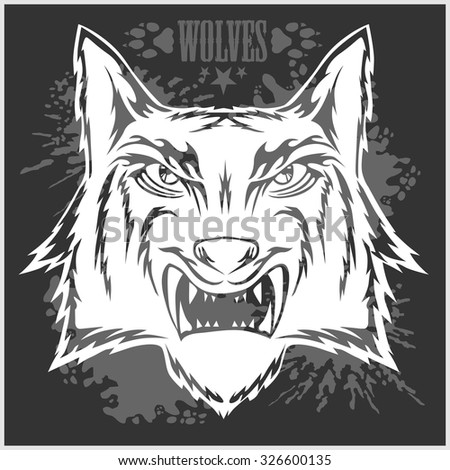 Retro wolf mascot athletic design complete with wolf head. Vector stock. - stock vector
