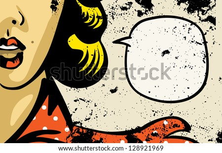 retro woman speaking in blank speech bubble - stock vector