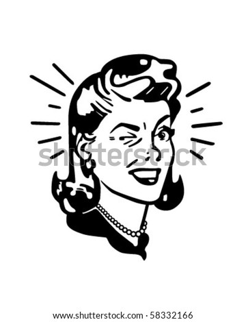 Retro Woman Winking - Retro Clip Art - stock vector