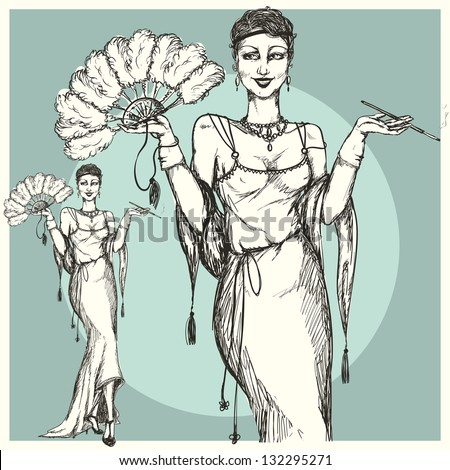 Retro woman with fan and cigarette, flapper-girl, 1920s stylized hand drawn illustration - stock vector