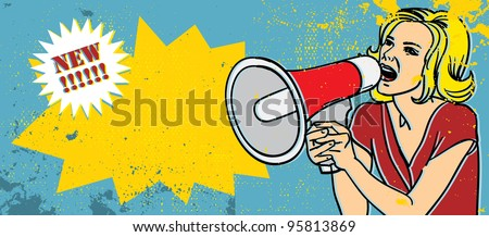 retro woman with megaphone vector illustration - stock vector