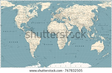 Retro World Map and Main State Roads. Large Detailed World Map vector illustration.