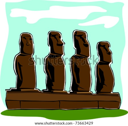 Retro World Wonder Easter Island Heads Vector Illustration - stock vector