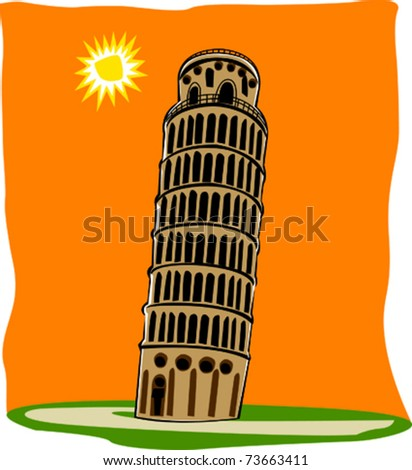 Retro World Wonder Leaning Tower of Pisa in Italy Vector Illustration - stock vector