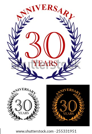 Retro 30 years anniversary celebration laurel wreath in different color variations in golden color on black background and in black, blue isolated on white for jubilee party design