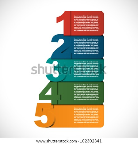 Retros Colorful presentations with five text box - stock vector