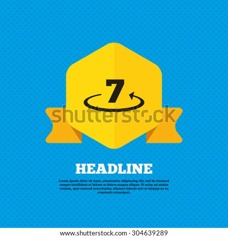 Return of goods within 7 days sign icon. Warranty exchange symbol. Yellow label tag. Circles seamless pattern on back. Vector - stock vector