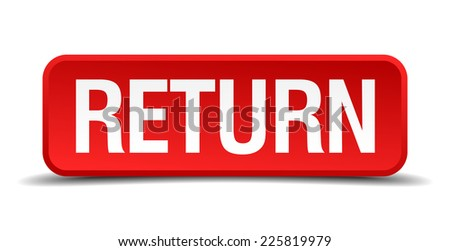 Return red 3d square button isolated on white - stock vector