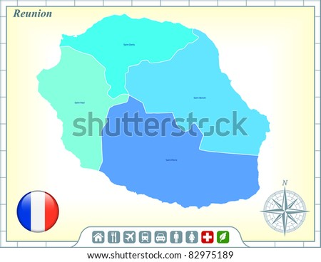 Reunion Map with Flag Buttons and Assistance & Activates Icons Original Illustration - stock vector