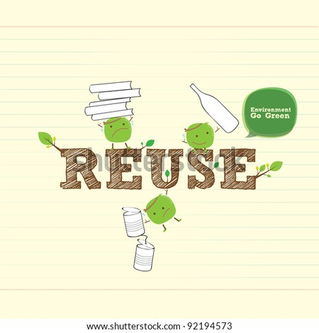 reuse bean with handwritten word and leaf - stock vector