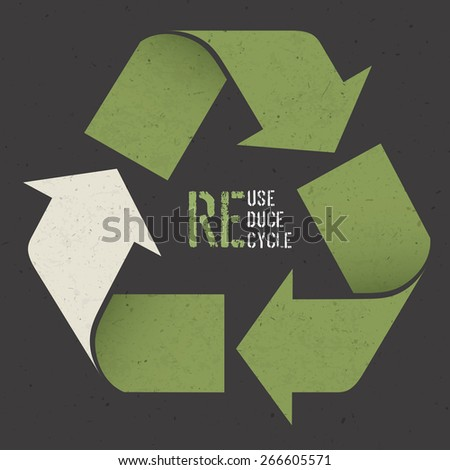 "Reuse conceptual symbol and ""Reuse, Reduce, Recycle"" text on Dark Recycled Paper Texture - stock vector"