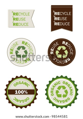reuse recycle reduce organic seals, save the planet - stock vector