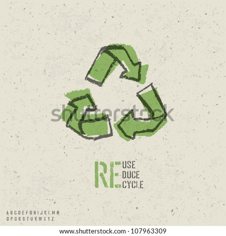 Reuse, reduce, recycle poster design.  Include reuse symbol image, seamless reuse paper texture in swatch palette and stencil alphabet. Vector, EPS10 - stock vector