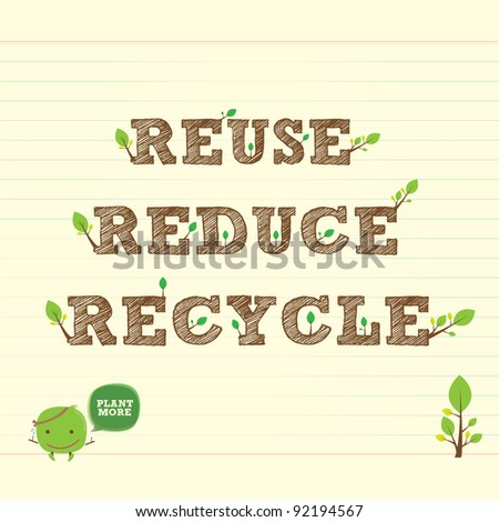 reuse reduce recycle with handwritten word and leaf - stock vector