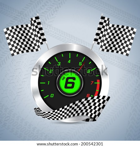 Rev counter with checkered flag and tire track background - stock vector