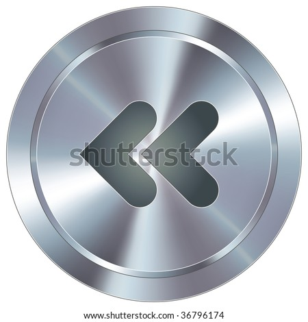 Reverse or back media player icon on round stainless steel modern industrial button suitable for use as a website accent, on promotional materials, or in advertisements. - stock vector