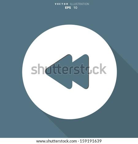 Reverse or rewind web icon - stock vector