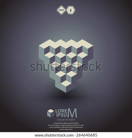 Reverse pyramid logotype, icon. Vector illustration - stock vector