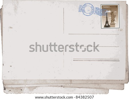 Reverse side of Old vintage postcards from Paris. Grunge vector. - stock vector