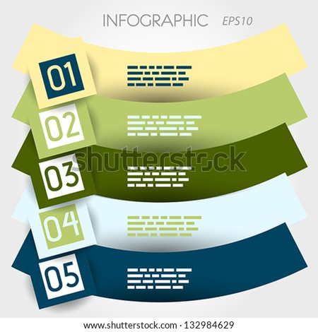 reversed arc infographic five options in big squares. infographic concept. - stock vector