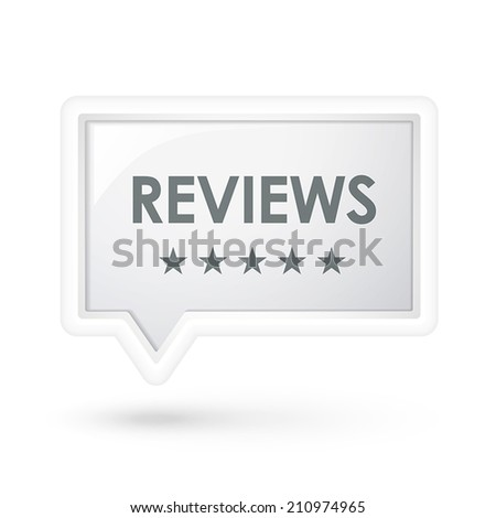 reviews word on a speech bubble over white - stock vector