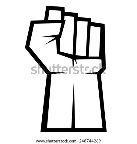 Revolution concept. Fist up isolated on white background, vector illustration - stock vector