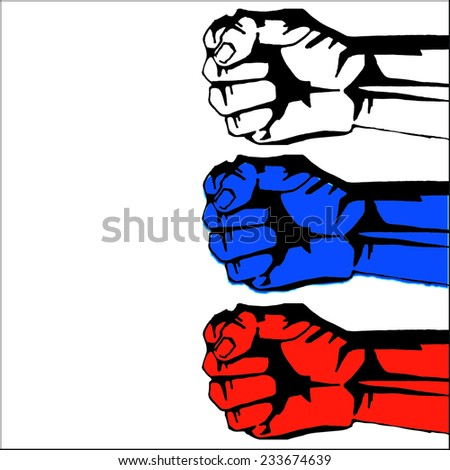 revolution fist in the colors of the tricolor  - stock vector