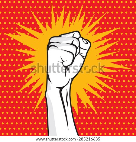 Revolution fist pop art vector illustration