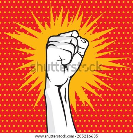 Revolution fist pop art vector illustration - stock vector