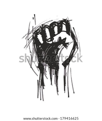 Revolution Hand painted black pencil on a white background - stock vector