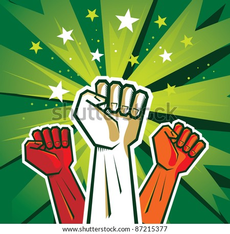 revolution hand poster - vector illustration - stock vector