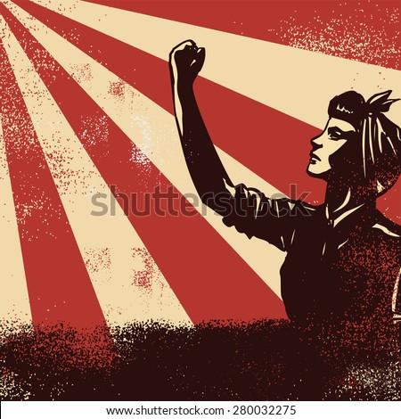 Revolution Poster, worker raising fists on sunbeam backgound, vector - stock vector