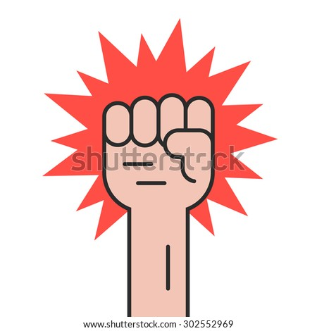revolution protest with outline hand. concept of communism, socialism, radical, patriotic, solidarity, uprising. isolated on white background. flat style trend modern logo design vector illustration - stock vector