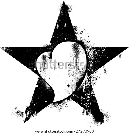 revolution star whit heart illustration - stock vector