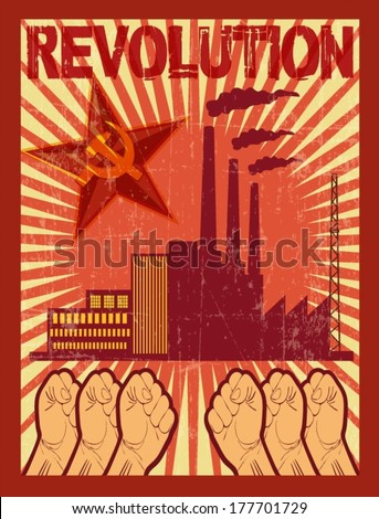 REVOLUTION, WORKER RIGHTS illustration poster - stock vector