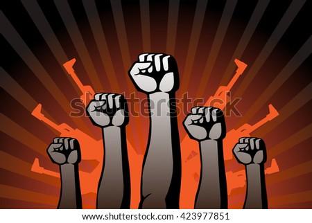revolutionary agitation - stock vector
