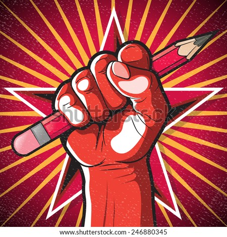 Revolutionary Punching Fist and Pencil Sign. Great illustration of Russian Propaganda style punching Fist holding a pencil symbolizing Freedom of speech.  - stock vector