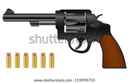 Revolver and bullets on a white background. Vector illustration.