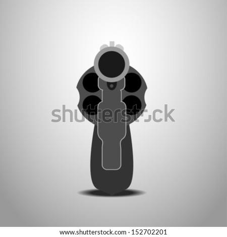 Revolver Front View. Vector Illustration - stock vector