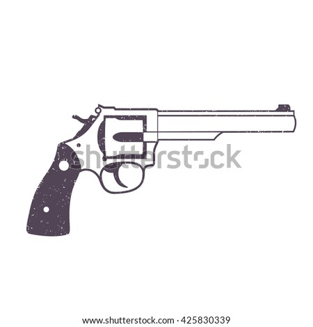 Revolver, handgun, cowboy's gun isolated on white, vector illustration - stock vector