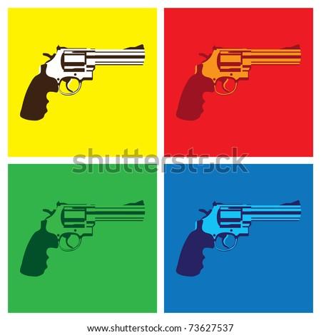 revolver in pop-art style - illustration - stock vector