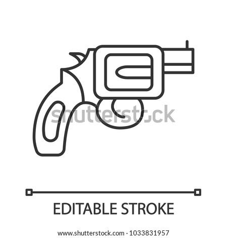 Revolver Linear Icon Pistol Gun Thin Stock Vector 1033831957