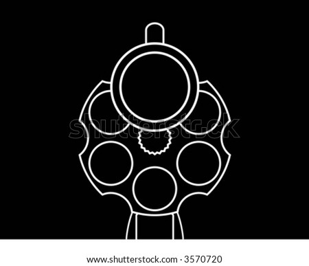 Revolver on black background - stock vector