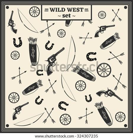 Revolver, quiver, bow, arrows, horseshoe, wheel/Vintage Western Set - stock vector